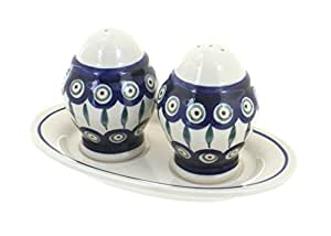 Polish Pottery Peacock Salt & Pepper Shaker with Plate