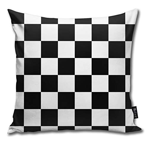 BLUETOP Checkered Flag Pattern Race Winner Pillow Cover, 18 x 18 Inch Winter Holiday Farmhouse Cotton Cushion Case Decoration for Sofa Couch