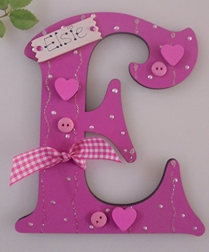 Hearts Wooden Letter **ANY NAME//LETTER** Available Personalised Plaque Sign Cerise