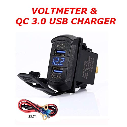 Quick Charge 3.0 Dual USB Rocker Switch Style Charger Blue Voltmeter for Boats, Polaris, RZR 1000, Ranger, Mobile Home, RV, Can Am Spyders, Can Am Maverick, Can AM SxS, Golf Cart (QC 3.0 Rocker Blue)