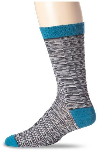 K. Bell Socks Men's Geometric Pattern Novelty Crew Socks, Random Feed Stripe (Grey) Shoe Size: 6-12