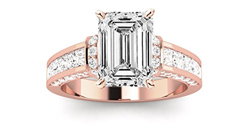 1.6 Carat t.w. 14K Rose Gold Emerald Contemporary Channel Set Princess And Pave Round Cut Diamond Engagement Ring D/VS2