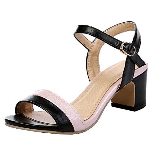 TAOFFEN Mujer Sandalias Moda Tacon Ancho Tacon Medio punta abierta Al  Tobillo Zapatos Negro 70954a049651