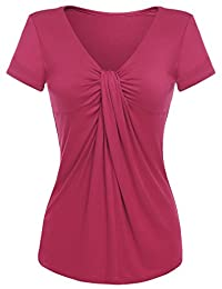 Women's Ruched Top Blouse Cross Front V Neck 8 Colors Short Sleeve Summer Shirts