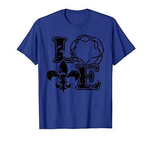 Vintage I Love Mardi Gras New Orleans Fleur De Lis T-Shirt