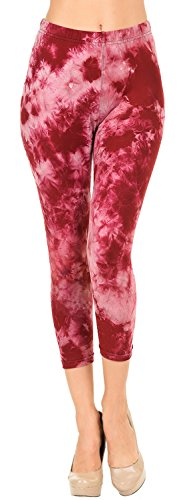 - VIV Collection Regular Size Printed Brushed Tie-Dye Capris (Heart Broken)