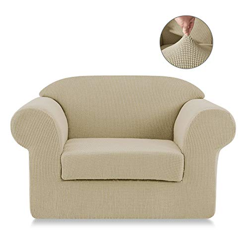 SyMax Stretch Sofa Slipcovers 2-Piece Anti-Slip Loose Chair Seat Covers 1 Seater Elastic Couch Furniture Protector for Dog/Cat(Chair, Khaki)