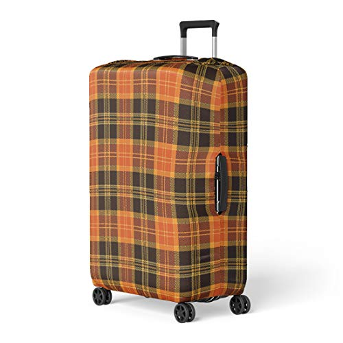 Pinbeam Luggage Cover Brown Pattern Halloween Tartan Plaid Orange Autumn British Travel Suitcase Cover Protector Baggage Case Fits 22-24 inches ()