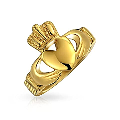 Irish Celtic Claddagh Heart Ring Gold Plated Stainless Steel (Womens Gold Claddagh Ring)