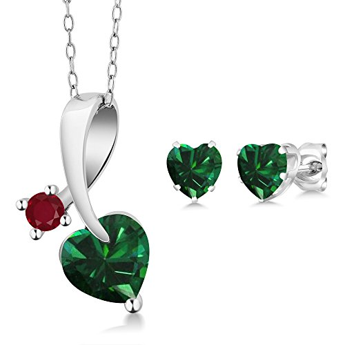 1.84 Ct Heart Shape Green Simulated Emerald 925 Sterling Silver Pendant Earrings Set