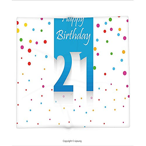 Custom printed Throw Blanket with 21st Birthday Decorations Party Festive Themed Happy Birthday Quote on Colorful Backdrop Multicolor Super soft and Cozy Fleece Blanket (Happy Birthday Steelers)
