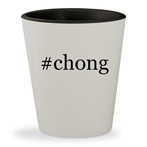 #chong - Hashtag White Outer & Black Inner Ceramic 1.5oz Shot Glass (Tommy Chong Costume)