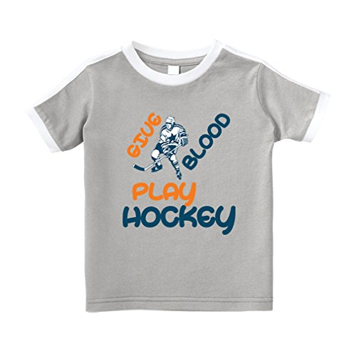 Hockey Crewneck (Cute Rascals Give Blood Play Hockey Sport Cotton Short Sleeve Crewneck Unisex Toddler T-Shirt Soccer Tee - Oxford Gray, 3T)