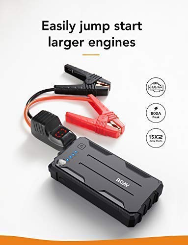 Roav by Anker Jump Starter Pro, 800A Peak 12V for Gasoline Engines up to 6.0L or Diesel Engines up to 3.0L, Portable Charger with Advanced Safety Protection, and a Built-In LED Flashlight and Compass by Anker