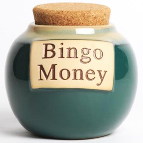 Bingo Money Holder; Ceramic Jar With Cork; Bingo Lover Gift By Tumbleweed