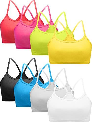 8 Pieces Girl Women Training Bra Cotton Crop Detachable Bra Sports Bra for Girl Wirefree Racerback Cami Bra, 8 Colors