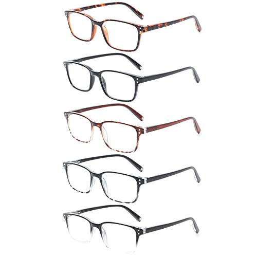 Reading Glasses Magnet 5 Packs Retro Man and Woman Spring Hinge Readers (5 Color Mix, 1.25)