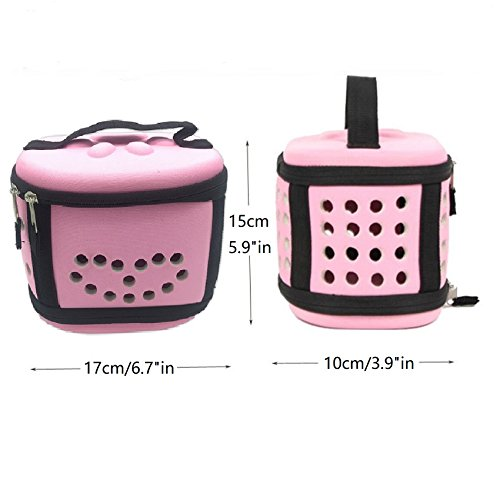 Portable Mini Poodle Puppy Carrier Hamster Cage - Cute Travel Carrier Hard-sided Cage for Small Animal Puppy Kitty Hedgehog (Grey) by Petall (Image #5)
