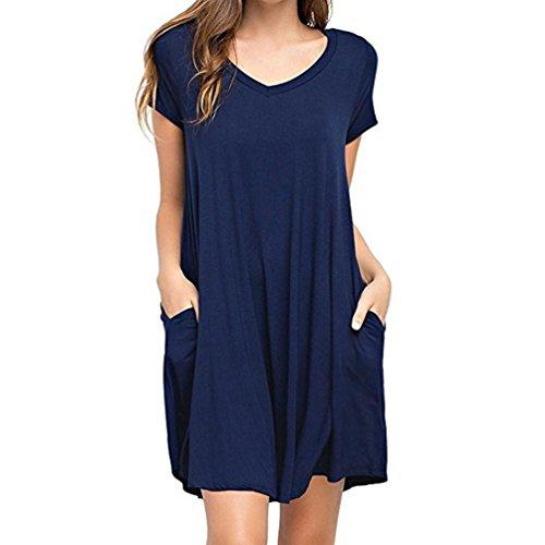 Mini Dresses, FORUU Women Summer Casual Solid Plain Simple Pocket T Shirt Loose Blue ()