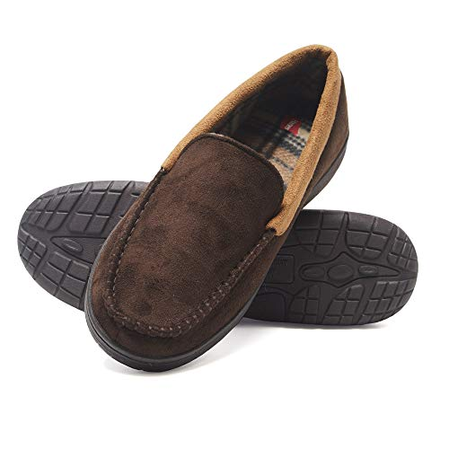 Hanes Men's Venetian Memory Foam Indoor Outdoor Moccasin Slipper Shoe with Fresh IQ (Size Extra Large, Brown)