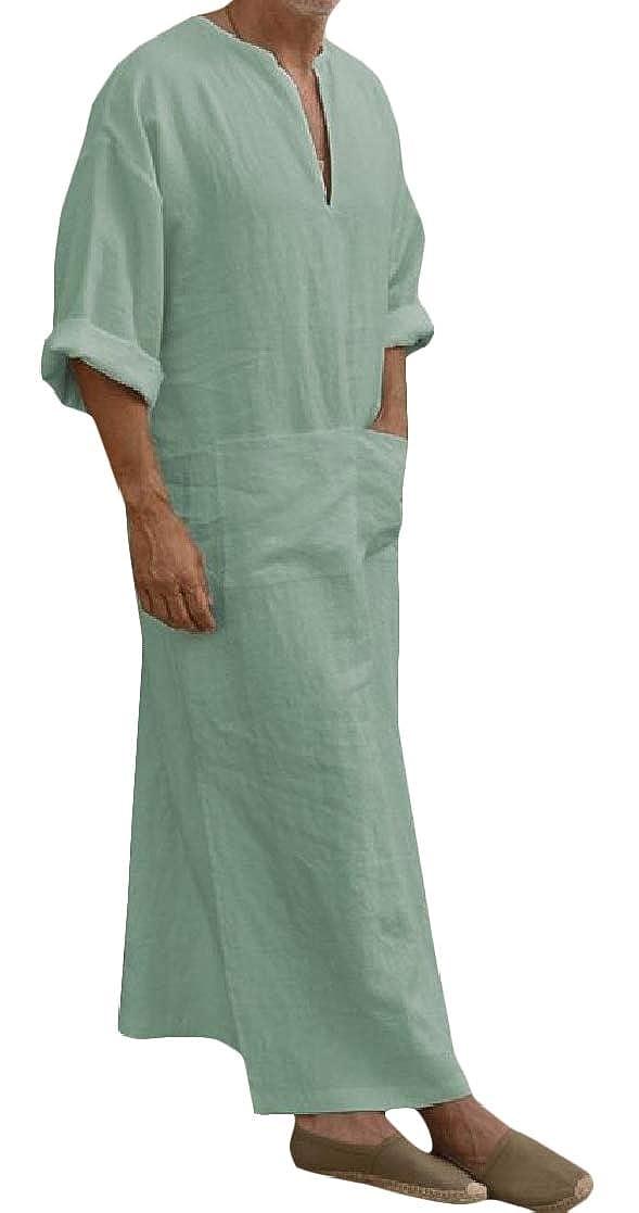 Macondoo Mens Cotton Abaya Pure Color Fit Arabia T-Shirt