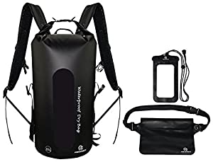 Waterproof Dry Bags Set Of 3 By Freegrace - Dry Bag With 2 Zip Lock Seals & Detachable Shoulder Strap, Waist Pouch & Phone Case - Can Be Submerged Into Water For Swimming, Kayak, Rafting (Black 35L)