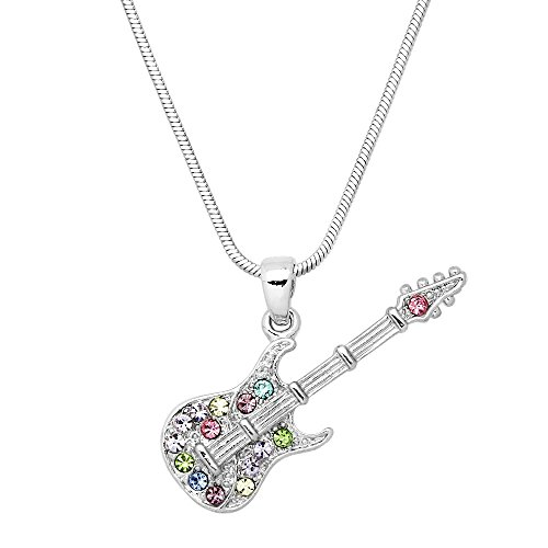 Liavy's Electric Guitar Charm Pendant Fashionable Necklace - Sparkling Crystal - 17