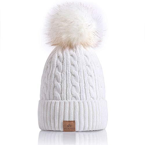 PAGE ONE Women Winter Pom Pom Beanie Hats Warm Fleece Lined,Chunky Trendy Cute Chenille Knit Twist Cap/White