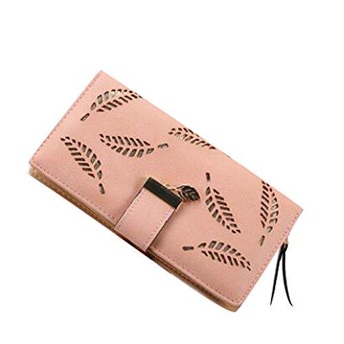 Zipper sac Card longues D en XINTO cuir Pack PU Femmes embrayage à feuilles creux main axPXq