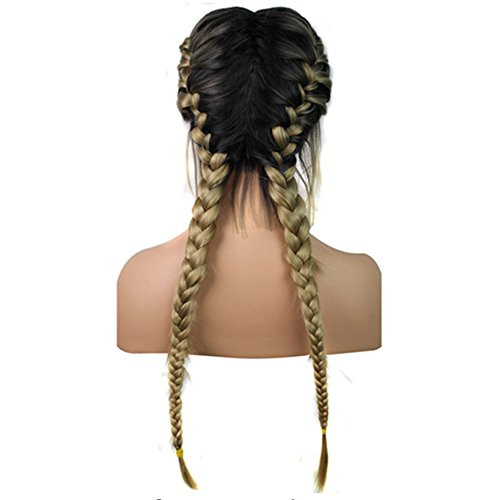 Suppion 26 inches Synthetic Baby Hair Braided Double Lace Front Wig Long Black Ombre Black Wigs
