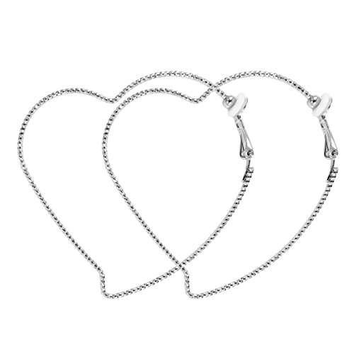 Fashion Heart Large Silver Hoop Clip On Earrings For Women 2.36 inch RareLove