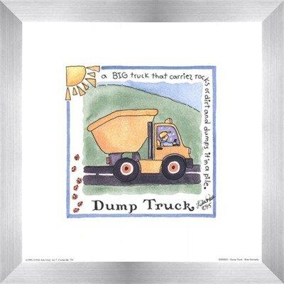 Poster Palooza Framed Dump Truck- 8x8 Inches - Art Print (Stainless Steel Frame)