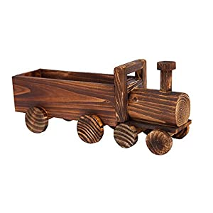 Danmu Wood Train-Shape Flower Planter Garden Patio Planter Indoor and Outdoor Decor Succulent Plants & Moss/Decorative Windowsill Plant Container Box 89