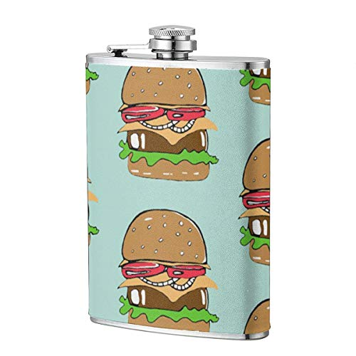- Lokjjtvfrxcgtg Burger On Minty Sage 304 Stainless Steel Leakproof Slim Profile Hip Flask 8 Oz for Travel Cruise Hiking Boating