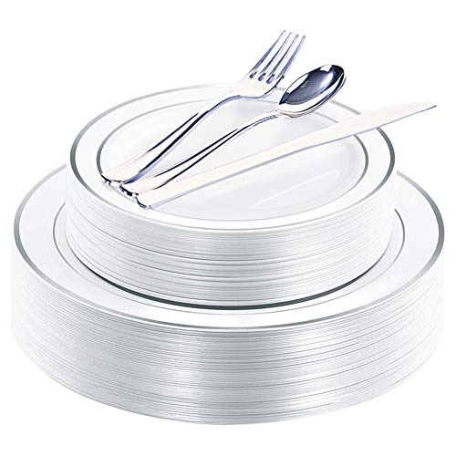 WDF 40Guest Silver Plastic Plates with Disposable Plastic Silverware- Plastic Tableware sets include 40 Dinner Plates, 40 Salad Plates,40 Forks, 40 Knives, 40 Spoons -