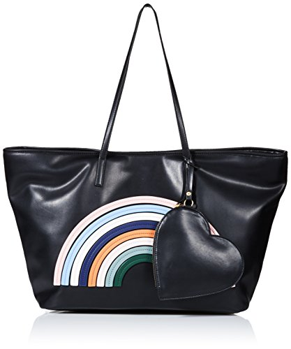 """Dear Drew by Drew Barrymore""""on The Go Petit Vegan Leather Rainbow Tote Bag, Perfect Pink"""