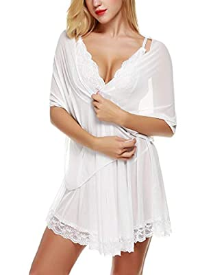 Avidlove Women Lingerie 3 Pieces Chemises Lace Babydoll Mini Sleepwear Set