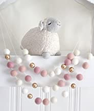 """""""Ombre Pink & Gold"""" Handmade Felt Ball Garland by Sheep Farm Felt- White, Ivory, and Pink Pom Po"""