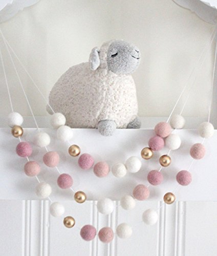 Ombre Pink  Gold Handmade Felt Ball Garland by Sheep Farm Felt- White, Ivory, and Pink Pom Pom Garland, Wool and Wood Felt Ball Metallic garland. 2…