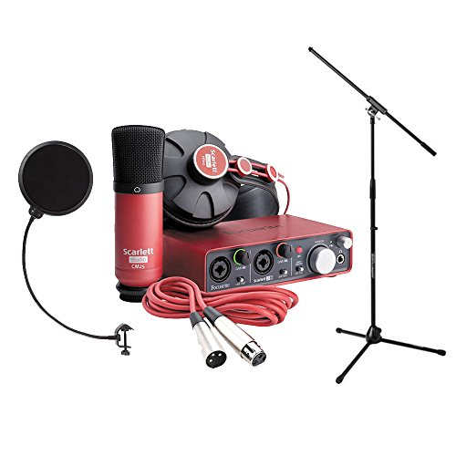 Focusrite SCARLETT Studio Pack w/CM25 Microphone, Headphones, 2i2, Code for Software Bundle Mic Cable, Boom Stand, and Pop Filter by Focusrite