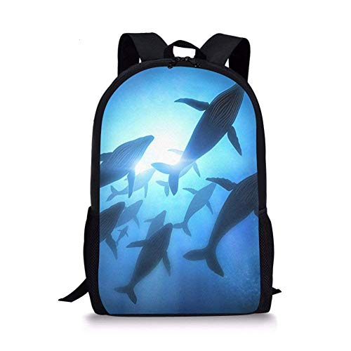Blue Whale Fish Sea Life Kids School Backpack for Elementary Girl Boy