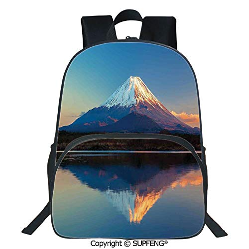 SCOXIXI Backpack Mount Fuji and Lake Shoji Picture Clear Sky Sunset Photo Print (15.75