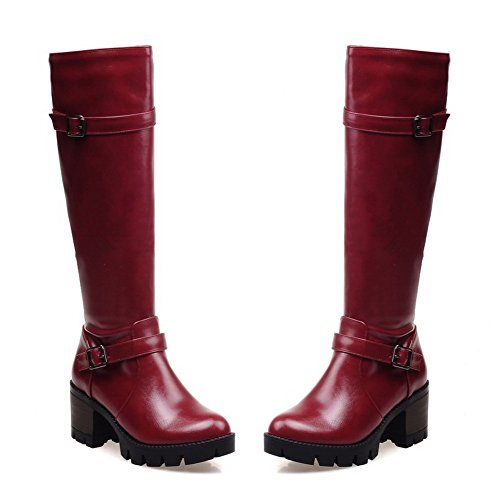 Platform Imitated 1TO9 Boots Leather Claret Zipper Heels Buckle Girls Chunky OxIq17