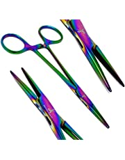 """Multi Titanium Colour Color Fully Serrated Hemostat Forceps 5.5"""" Straight Pliers Stainless Steel"""