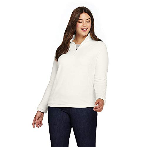Lands' End Women's Plus Size Quarter Zip Fleece Pullover, 1X, Ivory