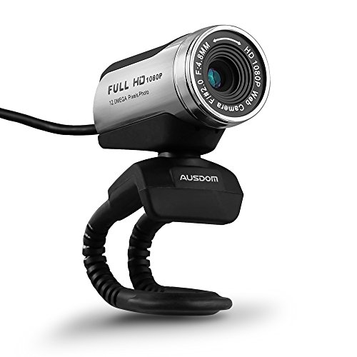 AUSDOM 1080P HD USB Webcam with Built-in Microphone,12.0MP, Auto Exposure, Digital Zoom, Clip-On/Freestanding Network Computer Camera Web Cam for Laptop/Desktop/Skype /FaceTime/Youtube/Yahoo Messenger