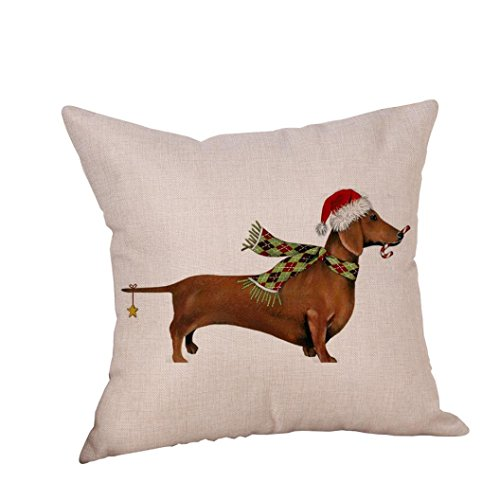 Happy Christmas Pillow Cases,Napoo Dog Cotton Linen Cushion Covers Decorative Throw Pillow Cover 18X18 Inches (C)