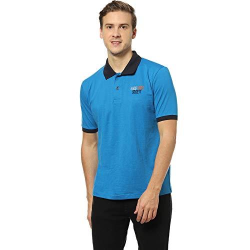 Men Blue Solid Casual T Shirt