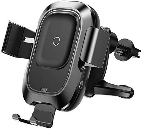 Car Phone Holder for iPhone Samsung Wireless Charger, black