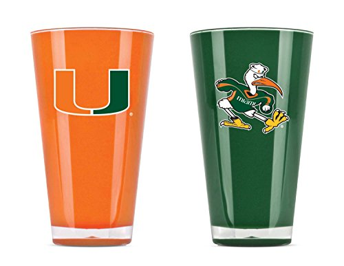 NCAA Miami Hurricanes 20oz Insulated Acrylic Tumbler Set of - Hurricane Acrylic Glass